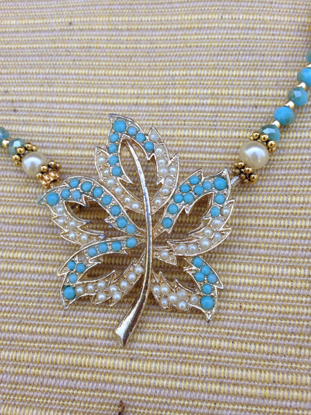 Turquoise Leaf Brooch Necklace
