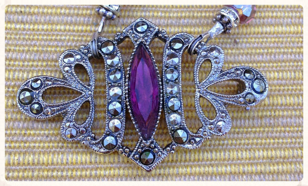 Amethyst and Marcasite Brooch Necklace