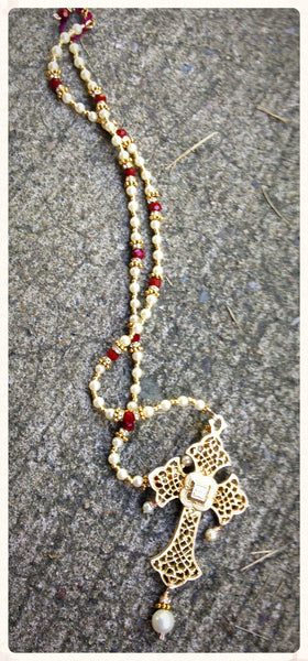 Golden Rosary Necklace