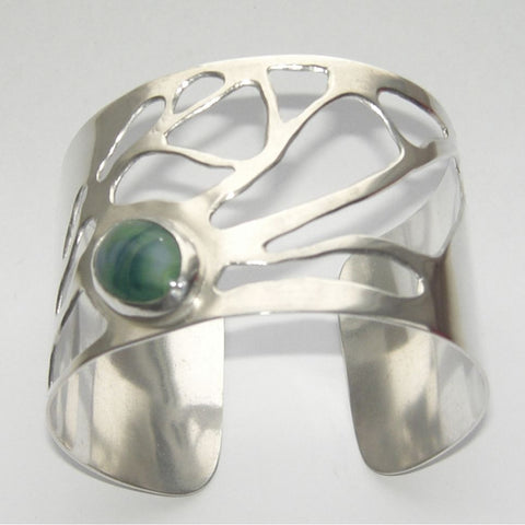 Sterling Silver Cuff Bangle Ramalina Un Seul Malachite Bangle, Cuff, Ramalina, Sterling Silver