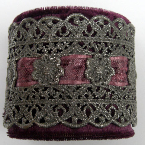 Pewter Metal Lace On Crushed Velvet Cuff Bracelet