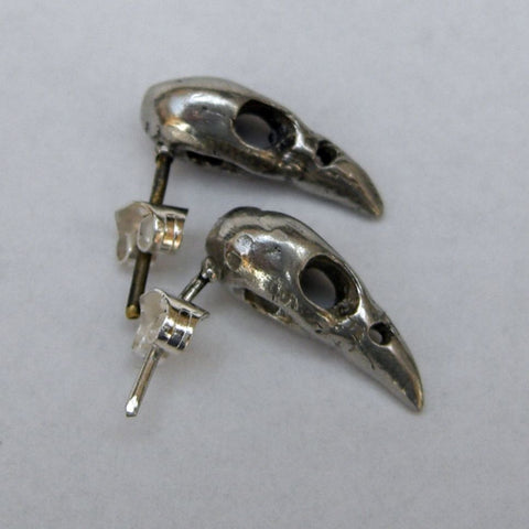 Sterling Silver Bird Skull Stud Earrings Small Bird, Earring, Earrings, Immortal, Skull, Sterling Silver