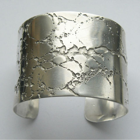 Sterling Silver Cuff Bangle Etched Crevice 4mm Bangle, Cuff, Erode, Sterling Silver