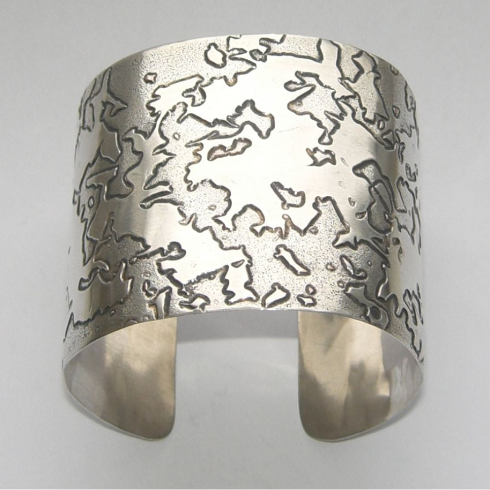Sterling Silver Cuff Bangle Etched Contour Bangle, Cuff, Erode, Sterling Silver