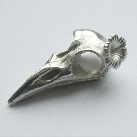 Sterling Silver Raven Bird Skull Flower Bird, Immortal, Skull, Sterling Silver