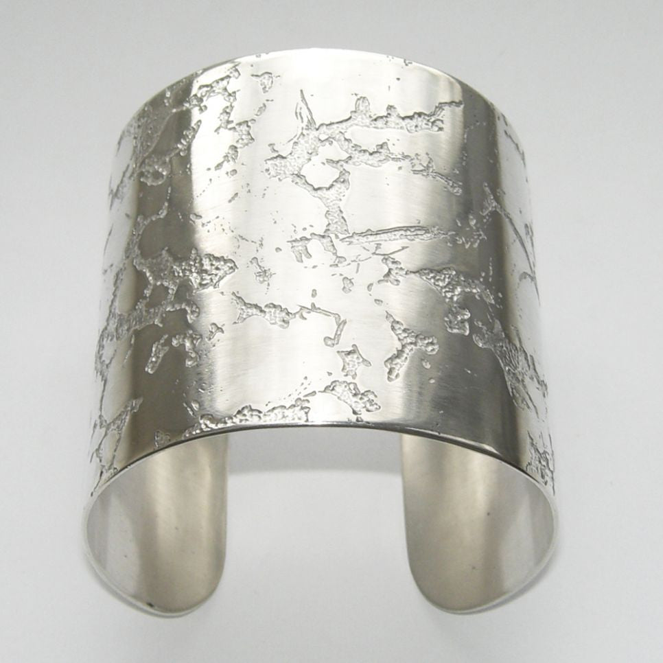Sterling Silver Cuff Bangle Etched Crevice 6mm Bangle, Cuff, Erode, Sterling Silver