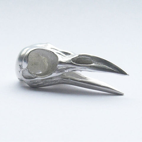 Sterling Silver Raven Bird Skull Brooch Open Beak Bird, Brooch, Brooches, Immortal, Skull, Sterling Silver
