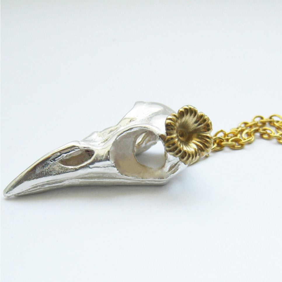 Sterling Silver Bird Skull Gold Vermeil Flower Pendant Bird, Immortal, Necklace, Necklaces, Pendant, Pendants, Skull, Sterling Silver