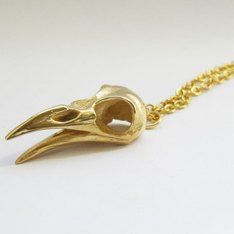 Gold Vermeil Bird Skull Pendant Open Beak Bird, Gold Vermeil, Immortal, Necklace, Necklaces, Pendant, Pendants, Skull