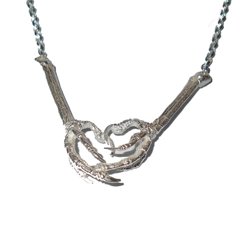 Sterling Silver Robin Bird Claw Necklace