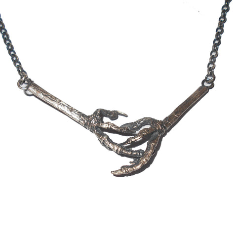 Sterling Silver Robin Bird Claw Necklace Oxidised