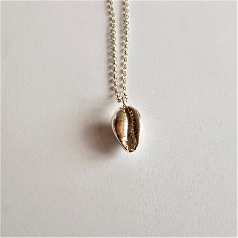 Cowrie Shell Pendant, Sterling Silver