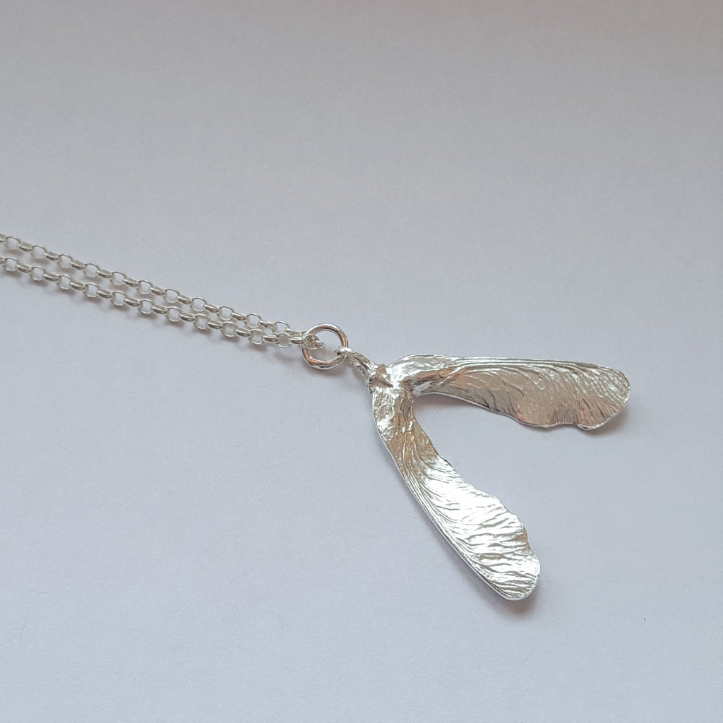 Sterling Silver Sycamore Leaf Pod Pendant