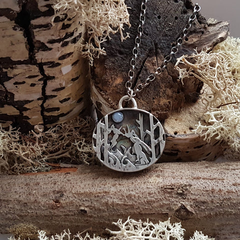 Sterling Silver Moon Gazing Triple Hare Pendant
