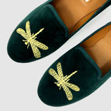 Dragonfly Loafers in Emerald - Taramay Design