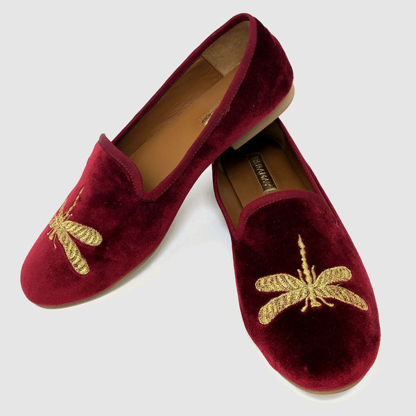 Dragonfly Loafers in Ruby