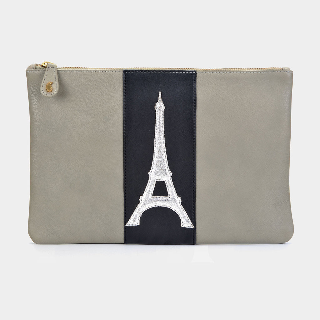 Eiffel Clutch in Silver - Taramay Design