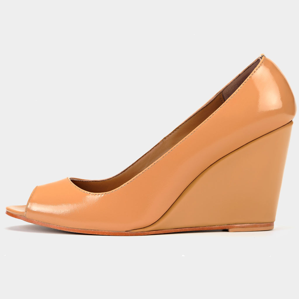 Ferra Peep-Toe Wedges in Patent Blush - Taramay Design