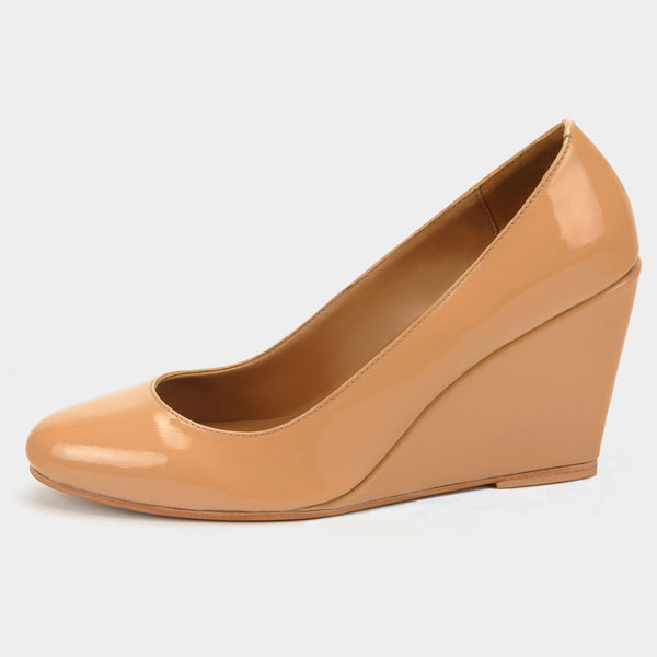 Ferra Pump Wedges in Patent Blush - Taramay Design