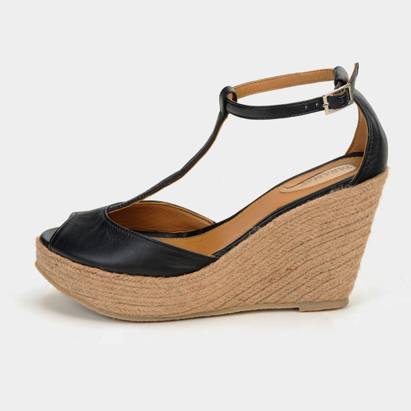 Ibiza Wedge Espadrilles in Black - Taramay Design