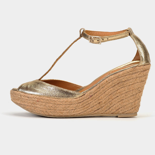 Ibiza Wedge Espadrilles in Gold - Taramay Design