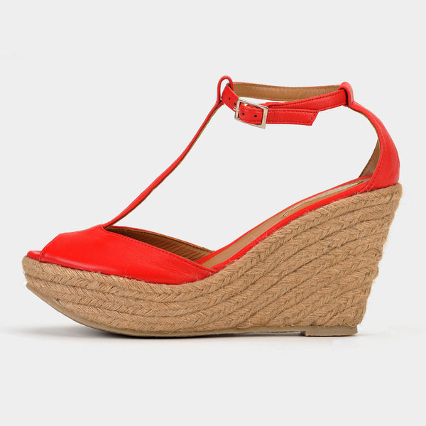 Ibiza Wedge Espadrilles in Rouge - Taramay Design