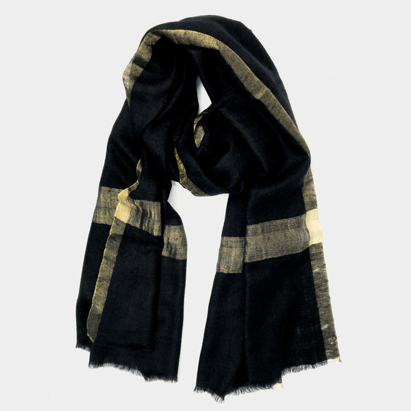 Metallic Cashmere Scarf in Black - Taramay Design