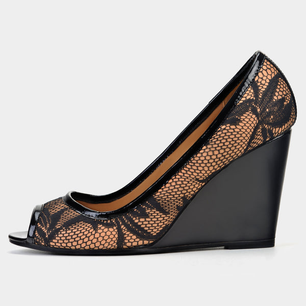 Noir Lace Peep-Toe Wedges - Taramay Design