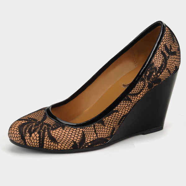 Noir Lace Pump Wedges - Taramay Design