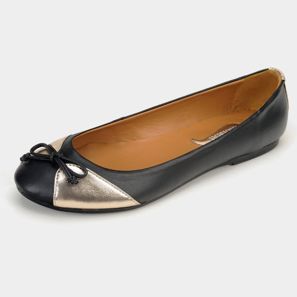 Papillon Ballet Flats in Black/Gold - Taramay Design