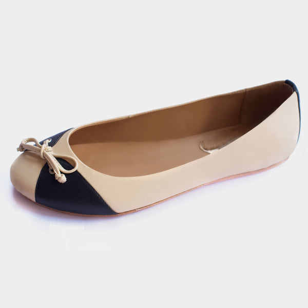 Papillon Ballet Flats in Ivory/Black - Taramay Design