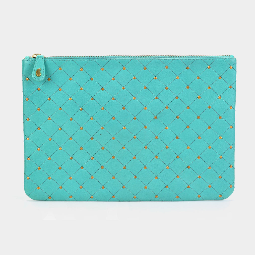 Quilted Clutch in Aqua - Taramay Design