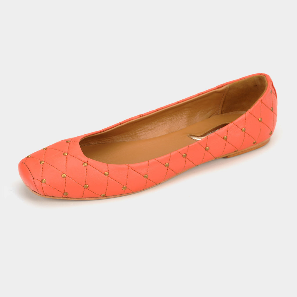 Aria Quilted Flats in Coral - Taramay Design