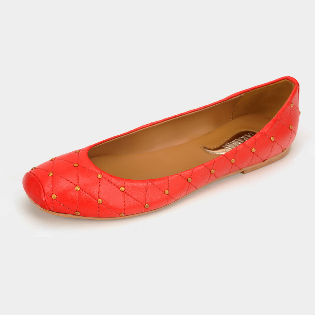 Aria Quilted Flats in Rouge - Taramay Design