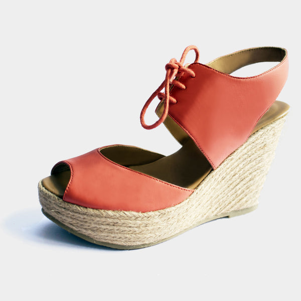 Rio Wedge Espadrilles in Coral - Taramay Design