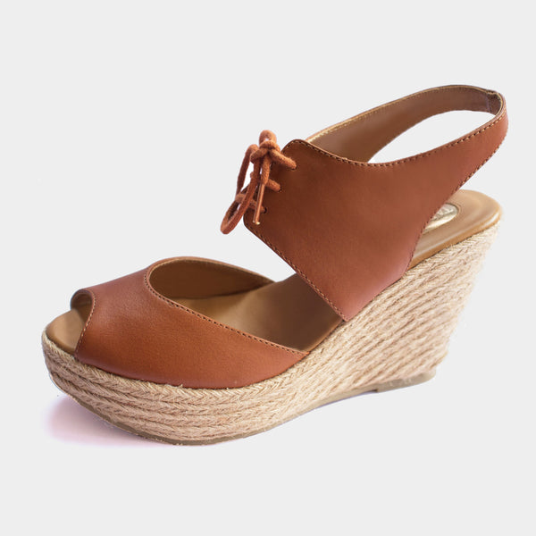 Rio Wedge Espadrilles in Cognac - Taramay Design