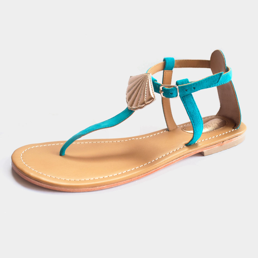 Seashell Sandals in Aqua - Taramay Design
