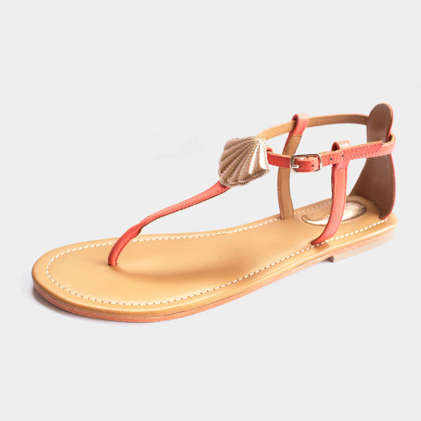 Seashell Sandals in Coral - Taramay Design