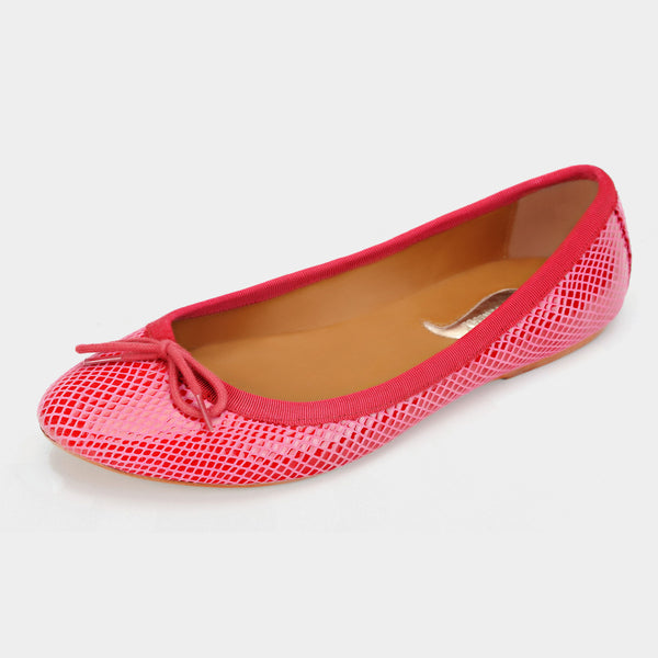 Snakeprint Ballet Flats in Cranberry - Taramay Design