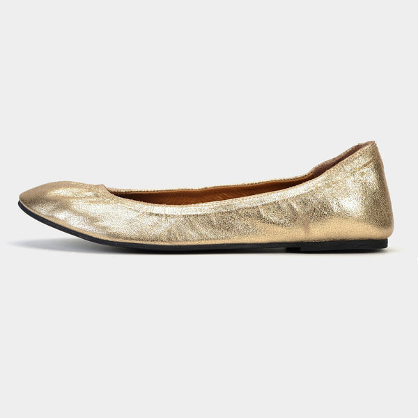 Tara Ballet Flats in Metallic Gold - Taramay Design