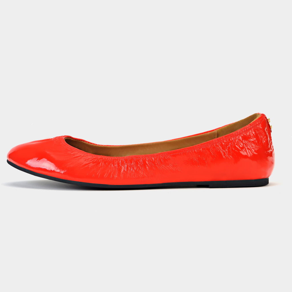 Tara Ballet Flats in Patent Red - Taramay Design