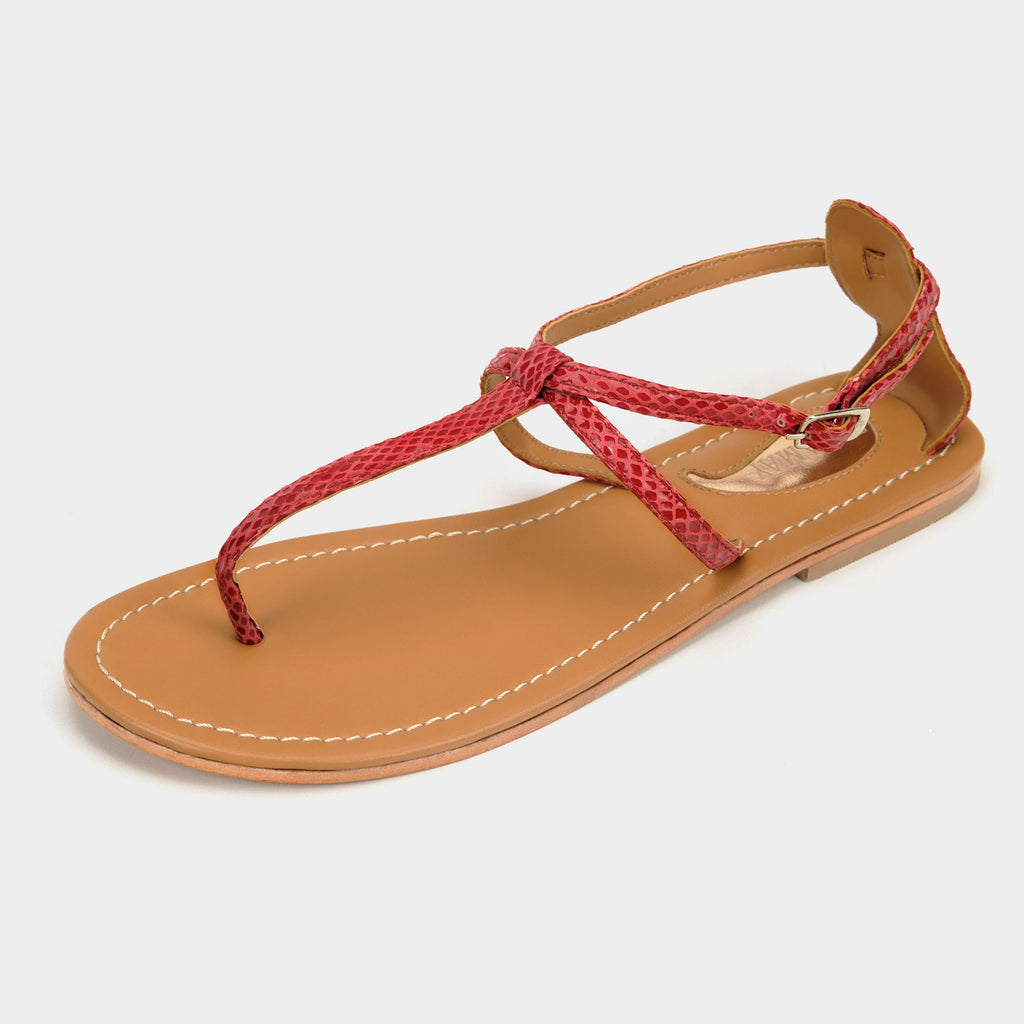 Trio Snakeprint Sandals in Cranberry - Taramay Design