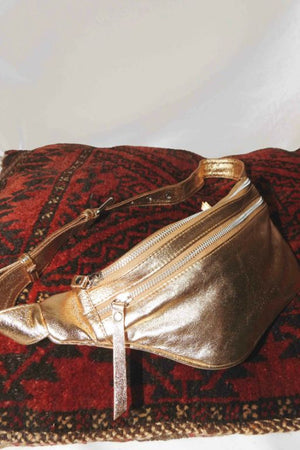 GOLD LEATHER BELT BAG