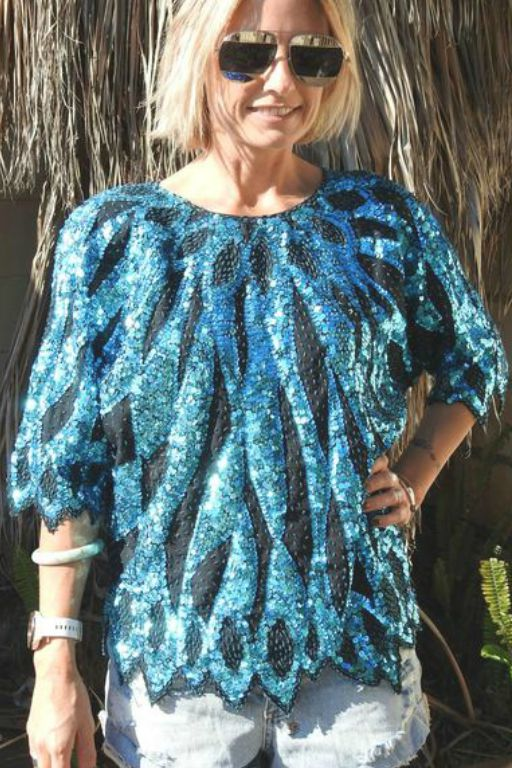 Vintage Sequin Hand Embroidered Blue Batwing Top