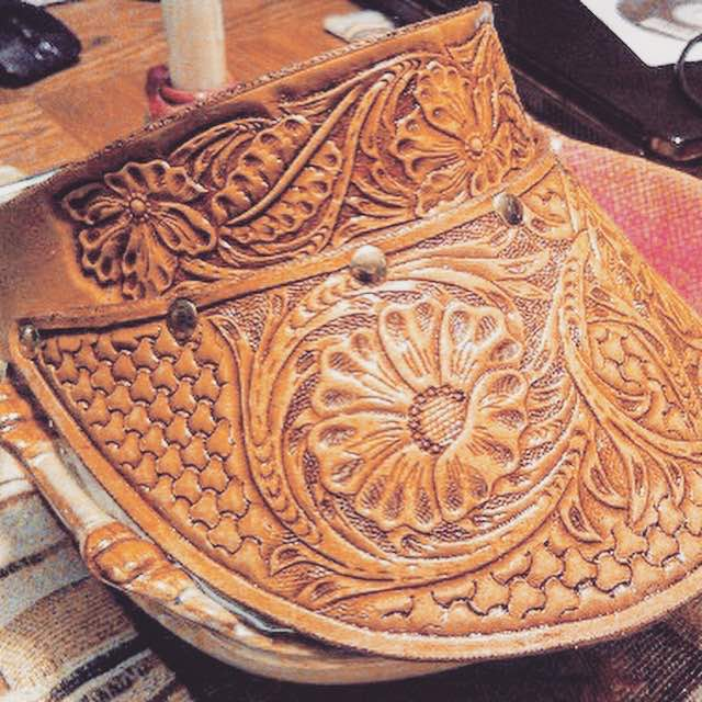 FARRAH TOOLED LEATHER  BOHEMIAN VISOR