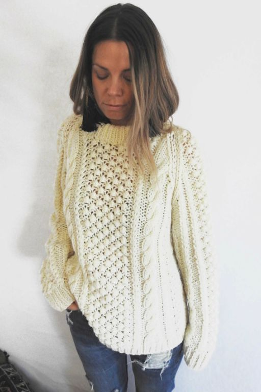 Knit 3 VINTAGE BIG CHUNKY CREAM KNIT