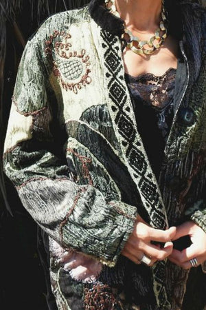 Vintage Paisley Embroidered Velvet Jacket