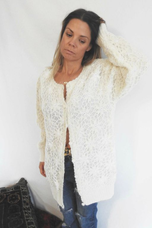 Knit 8 VINTAGE LACE  CREAM CARDI KNIT