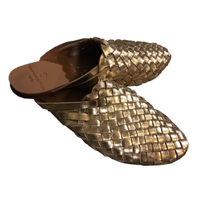 Pixies Lyla gold leather slipper