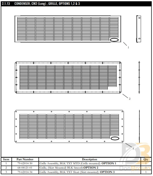 Grill Asy Chassis Cm-3 79-62014-30 Air Conditioning